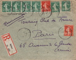 1919 ROTHAU Einschreibbfh. Recomandee - Marcophilie (Lettres)
