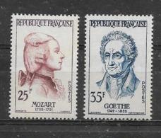 FRANCE -   Yvert  N° 1137 Et 1138 *  MOZART Et GOETHE - Neufs