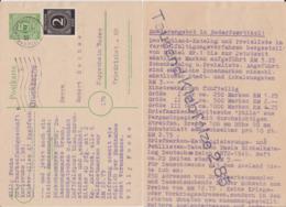 All Bes Ziffer P 950 ZF Priv Zudruck MSt Karlsruhe 1947 - Zone AAS