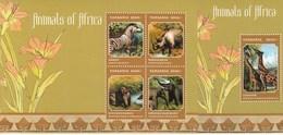 Tanzania 2013 Animals Of Africa Elephant Zebra Rhinoceros Giraffe MS + SS MNH - Giraffes