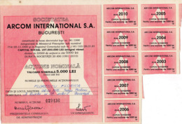 Romania, 1990's, Arcom International Company - Vintage Bond Certificate & Coupons, 5000 Lei - A - C