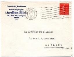 PARIS 112 / RUE AMELOT 1930 =  FLAMME FLIER Muette '7 Lignes Ondulées' + APOLLON FILM - Marcofilia (sobres)