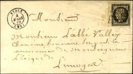 Grille + Plume Improvisant Une Grille / N° 3 Noir Sur Blanc, Bdf Càd T 15 EVAUX (22). 1849. - TB / SUP. - R. - 1849-1850 Ceres