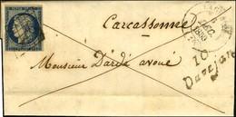 Grille / N° 4 Infime Def Cursive 10 / Davejan Càd T 14 LAGRASSE (10) Sur Lettre Avec Texte Daté De De Tuchan Pour Carcas - 1849-1850 Ceres