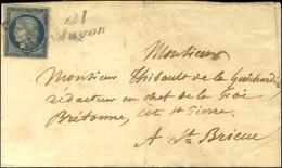 Grille / N° 4 Cursive 21 / Jugon Sur Lettre Pour St Brieuc, Au Verso Càd D'arrivée T 14. 1850. - TB. - R. - 1849-1850 Ceres