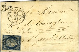 Grille / N° 4 Infime Def Càd T 15 SUZE-LA-ROUSSE (25) Cursive 25 / Tulette. 1851. - TB / SUP. - R. - 1849-1850 Ceres