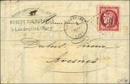 GC 1939 / N° 49 Belles Marges Càd T 16 LANDRECIES (57) Sur Lettre 3 Ports Pour Avesnes. 1871. - TB / SUP. - R. - 1870 Emissione Di Bordeaux