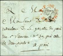 Marque Postale Ornée Rouge .P.P. DE LIMOGES Sur Lettre Avec Texte Daté 1791 Pour Paris. Au Recto, PP Fleur De Lys. - TB  - Storia Postale
