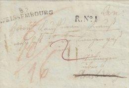 Lettre De WISSEMBOURG Datée Du 15.6.1803 Avec Timbre R.N°I Adressée à Tübingen - Poststempel (Briefe)