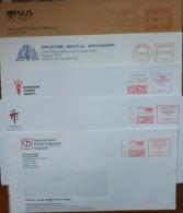 Singapore Health Hospital Medical 5 Envelopes With Meter Franking - Médecine