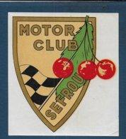 Motor Club SEFROU -Décalco 115 Mm X 105 Mm - Habillement, Souvenirs & Autres