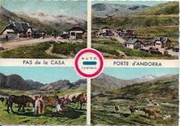 ANDORRE - DOUANE : Valls D'Andorra - Frontière Franco-Andorrane (Alt. 2085 M.). CPSM Multi-vues. - Andorre