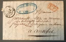France, Lettre De Niort 1847, P.P. Rouge (Navire Iphigénie) - (B1592) - Poststempel (Briefe)