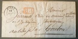 France, Lettre De Niort 1847, P.P. Rouge (Navire Iphigénie) - (B1593) - 1801-1848: Vorläufer XIX