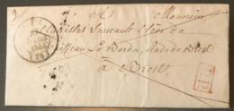 France, Lettre De Niort 1845, P.P. Rouge (Navire Le Borda) Taxe 8 Décimes - (B1594) - Poststempel (Briefe)