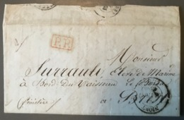 France, Lettre De Niort 1845, P.P. Rouge (Navire Le Borda) Taxe 25 Décimes - (B1595) - 1801-1848: Vorläufer XIX