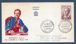 France - FDC - Premier Jour - Denis Diderot - Langres - 1958 - FDC