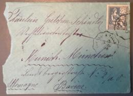 France, Mouchon N°114 Sur Lettre Pour La Bavière - (B1599) - Marcophilie (Lettres)