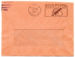 PARIS 100 / 1977 =  FLAMME PP Codée à DROITE = SECAP Illustrée ' CODE POSTAL / Mot Passe' - Postleitzahl