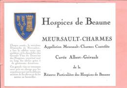 Etiquette Neuve Des Hospices De Beaune Mersault-Charmes Cuvée Albert-Grivault - Bourgogne