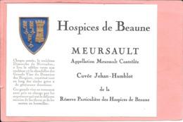 Etiquette Neuve Des Hospices De Beaune Mersault Cuvée Jehan-Humblot - Bourgogne