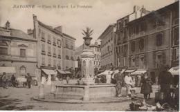 BAYONNE : Place St-Esprit - La Fontaine - TRES RARE VARIANTE - Cachet De La Poste 1914 - Bayonne