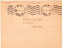 PARIS 101 1959 = FLAMME PP =  KRAG MUETTE  ' 5 Lignes Ondulées ' - Marcofilia (sobres)