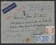 Lettre Expédié Par Avion De Tananarive (Madagascar) à Paris, Réexpédié Vers Bruxelles Non Affranchie Et Taxé à L'arrivé - Portomarken