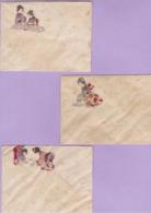 LOT De 3 Enveloppes Format 12 X 9,5 Cm - Paille De Riz - Illustrées à La Main - B - Papier Chinois