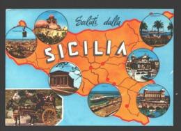 Sicilia - Saluti Dalla Sicilia - Mappa - Unclassified