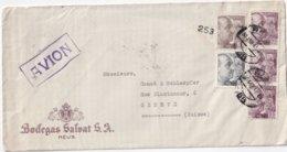 ESPAGNE 1943 PLI AERIEN CENSURE DE REUS POUR GENEVE - 1931-Today: 2nd Rep - ... Juan Carlos I