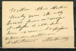 AUTOGRAPHE DE LA PRINCESSE MATHILDE / Fille De Jérome Bonaparte, Cousine De Napoléon III - Autographs