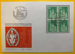 9049 - 700e Anniversaire De La Cathédrale De Lausanne 1975 No 359 Bloc De 4 - Postmark Collection