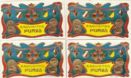 4 étiquette De Cigare Gaufrée Neuve Médaille Décoration Esquisitos Puros - Etiketten