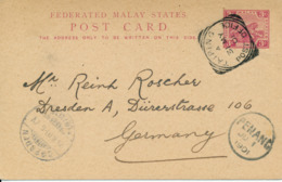 TEIPING / PERAK / MALAYA   - 1901 , 3c  POST CARD Via Penang To Dresden - Malayan Postal Union