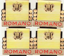 4 étiquette De Cigare Gaufrée Neuve Romano - Etiquettes