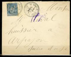 """1890 SEINE ET OISE / C-à-d FACTEUR BOITIER """"ST VRAIN 9/9/90"""" - Poststempel (Briefe)"""