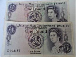 Isle Of Man-(LOT)-2 X ONE POUND - Isole Caiman