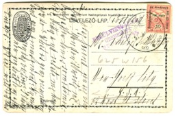 1915 Postcard With HADI SEGÉLY Overprinted Stamp + CENSOR Mark Überprüft Budapest In Violet Sent To The US In 1915 - Ungarn