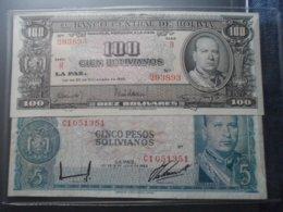 Bolivia 100 Cien Bolivianos 1945 + Cinco Pesos 1962 - Bolivia