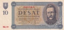 Czechoslovakia Slovakia 10 Korun Unperforated   EF/aUNC++ - Czechoslovakia