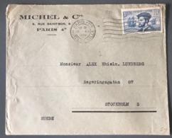 France N°297 (Cartier) Seul Sur Lettre 1934 Pour Stockholm (Suède) - (B1632) - Marcophilie (Lettres)