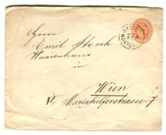 """1895 Postal Stationery Cover """"5"""" Sent From Ólyom-Brezó To Vienna - Hongrie"""