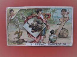 Chromo_Chocolat CARPENTIER_CUBA_avec Toréador, Balançoire - Grand Modele 8 Cms X 13 Cms - Chocolate
