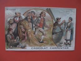 Chromo_Chocolat CARPENTIER_NORVEGE_avec Paysans, Fermiere, Pecheurs - Grand Modele 8 Cms X 13 Cms - Chocolate