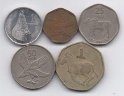 Botswana : Série De 5 Pièces 1976-2002 - Botswana