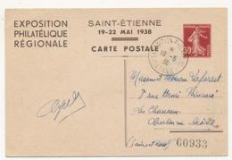 FRANCE - Carte Postale Semeuse Camée 30c TSC EXPOSITION PHILATELIQUE Régionale SAINT ETIENNE 1938 - Cartes Postales Types Et TSC (avant 1995)