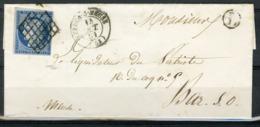 """1851 MEUSE / Obl. Grille Sur N°4 + C-à-d (T15) Cote 80€ + Boîte Rurale """"L"""" - Postmark Collection (Covers)"""