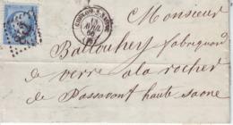 Chalons Sur Marne Pour   Passavant La Rochère   Yvert  22 GC 842 Devant Seul 1866 ° Cachet De Ligne - Marcofilie (Brieven)