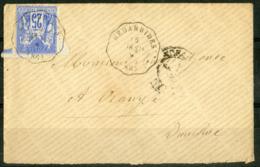 "1877 GIRONDE Cachet Convoyeur De Station ""BEDARRIDES (86) TAR.STR"" (Indice 13 = 110 €) - Railway Post"